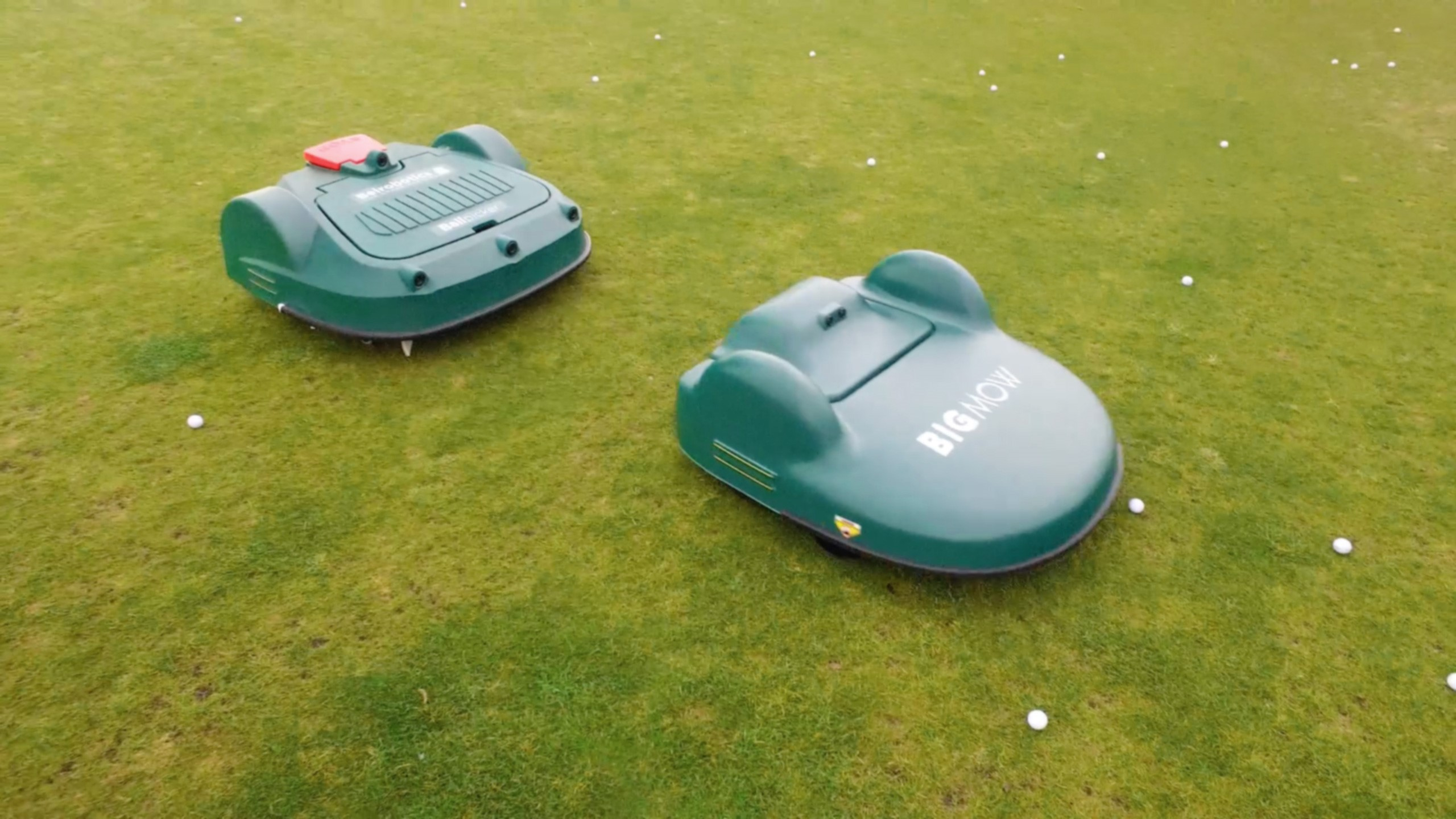 Automated robots for driving range outfield maintenance