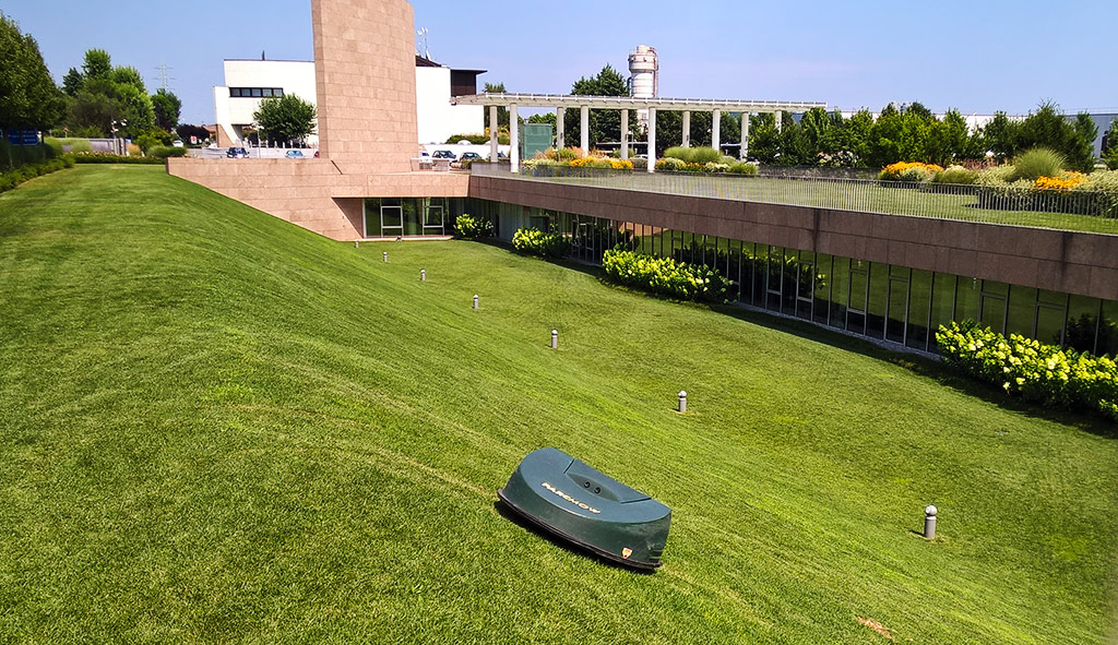 Robotic mowing for business premises and grounds